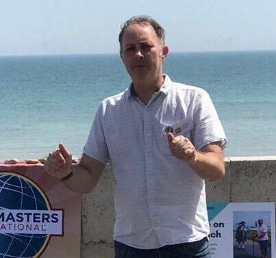 Sean during a speech on the beach