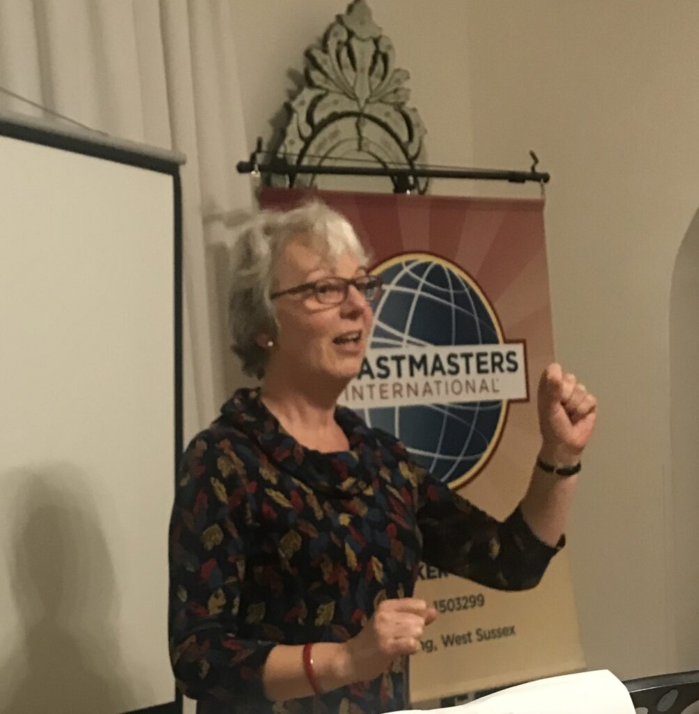 Cecily B. giving a speach on Toastmaster meeting